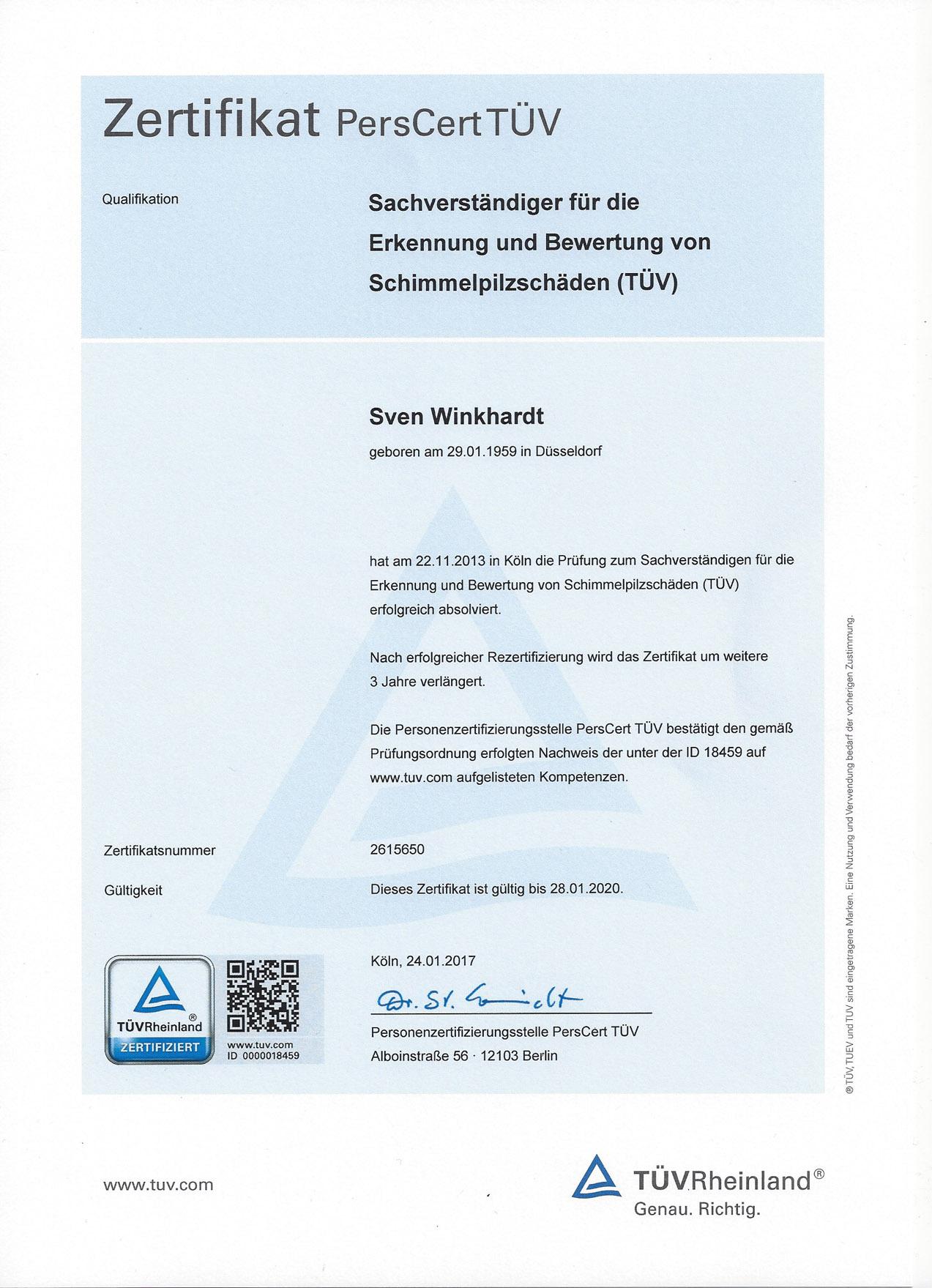 Zertifikat  Sven Winkhardt